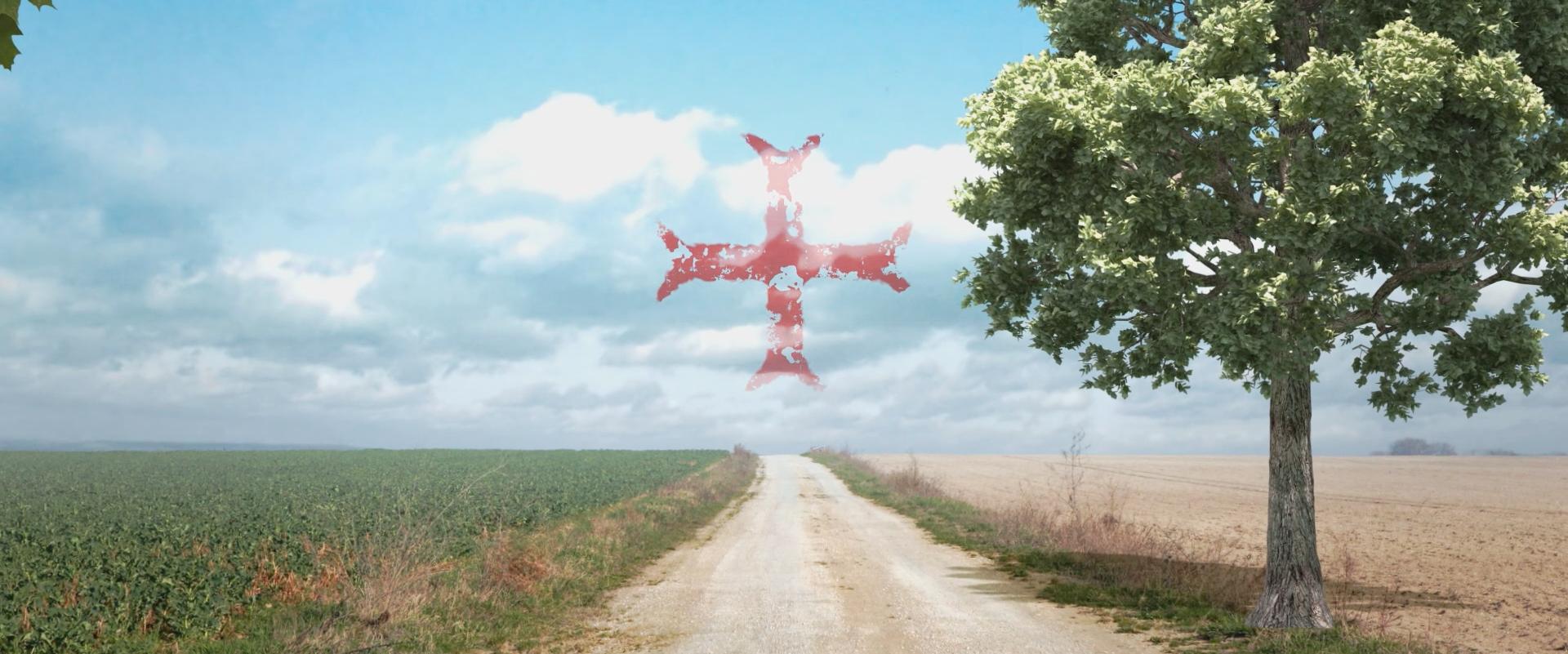Chemin avec une croix templière